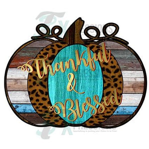 Thankful and Blessed Pumpkin Gold, Wood, Leopard