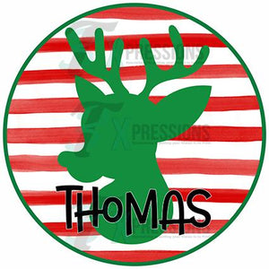 Personalized Boy Circle Striped Reindeer