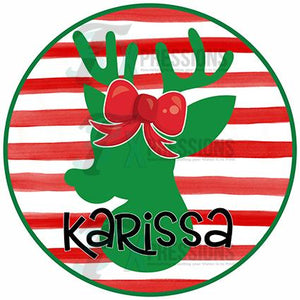 Personalized Girl Circle Striped Reindeer