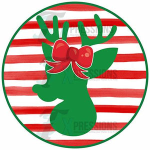 Girl Circle Striped Reindeer