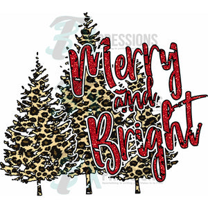 Merry and Bright Leopard and Red Glitter Christmas Trees
