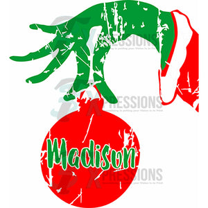 HTV Personalized Grinch Hand and Ornament