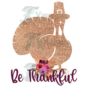 HTV Be Thankful Gold Glitter Turkey