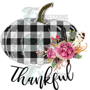HTV Black and White Plaid Thankful Pumpkin