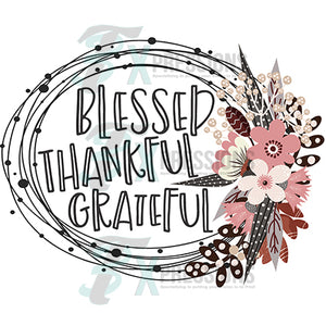 Blessed Thankful Grateful Circle Frame