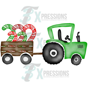 Green Tractor with Candy Canes