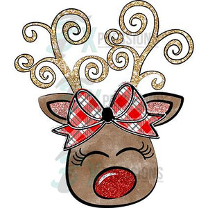 Reindeer Christmas plaid Bow