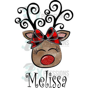 Personalized Reindeer, buffalo Plaid bow
