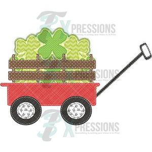 Patchwork wagon with clovers