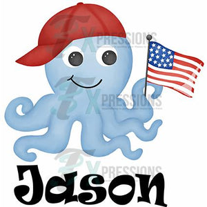 Personalized Patriotic Octopus