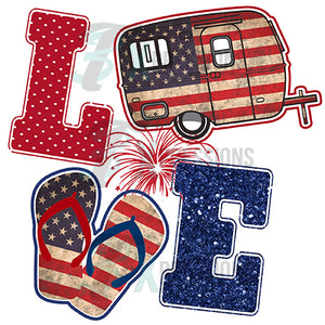 Love Red White Blue Camper