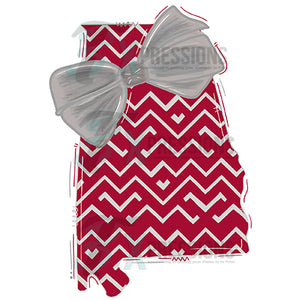 Alabama Crimson and Gray with Bow