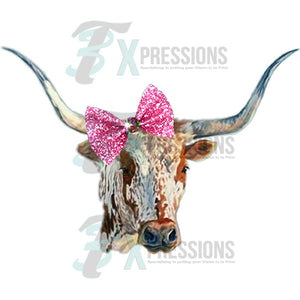 Longhorn with pink Bow