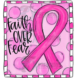 faith over fear breast cancer ribbon