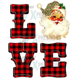 Buffalo Plaid Love Santa