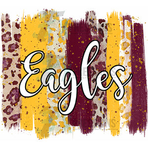 Personalized Maroon and Yellow Brush Stroke