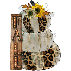 Fall leopard Sign pumpkin trio