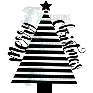 Black and White Merry Christmas Tree