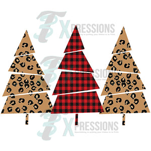 3 tree Leopard and Buffalo Plaid