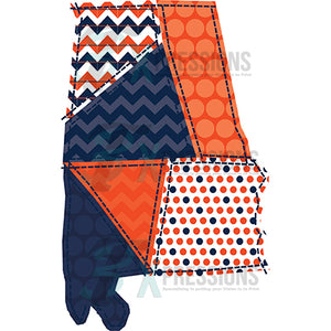Orange and Navy Alabama Patchwork