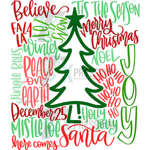 Red and Green Christmas Typography