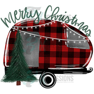 Merry Christmas Buffalo Plaid Camper
