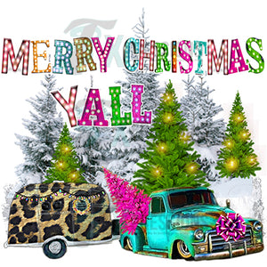 Merry Christmas Y'all Leopard Camper