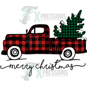 Merry Christmas Buffalo Plaid Truck snow covered tree
