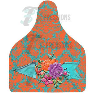 Orange Damask Arrow, Cow Tag