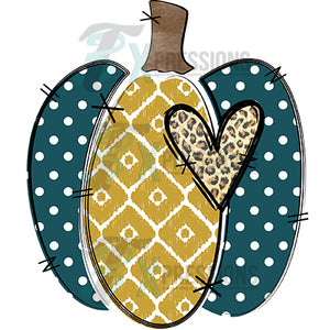 Teal Dot Mustard Pumpkin
