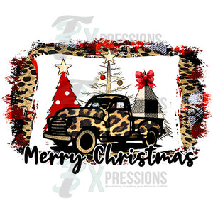 Merry Christmas Leopard Truck and background