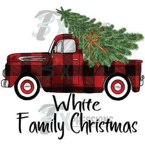 Personalized Family Christmas Buffalo Plaid Truck
