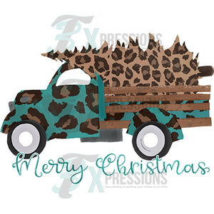 Merry Christmas Turqouis and Leopard Truck