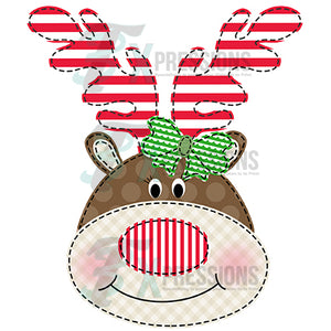 Reindeer Girl Faux Applique