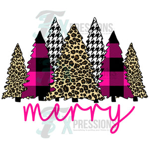Merry Trees Hot pink and Leopard