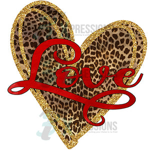 heart leopard love Gold Glitter