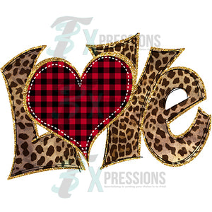 Leopard love with buffalo plaid heart