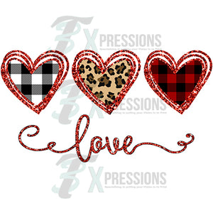 Love Heart Trio Lumberjack, Leopard, Buffalo Plaid