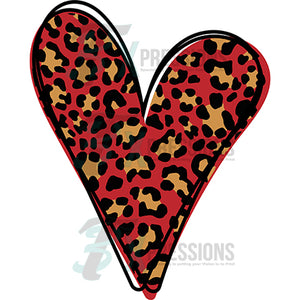 Red and Brown Leopard heart