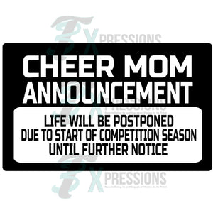 Cheer Mom Announcement