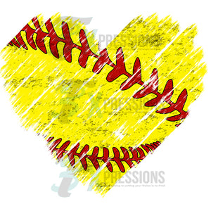 Distressed Softball Heart