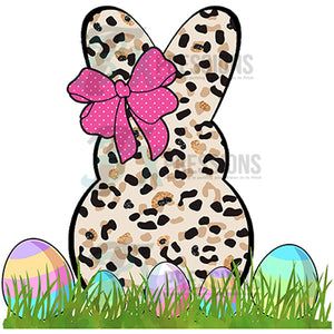 Cheetah Print Bunny with Eggs