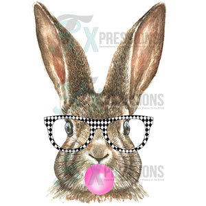Rabbit with black and white glasses, bubble