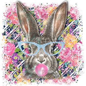 Rabbit with Blue glasses and background