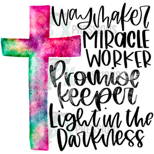 Waymaker Miracle worker, water color cross