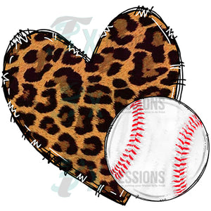 baseball leopard heart