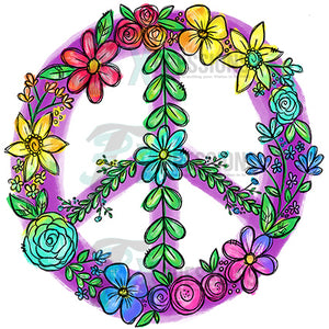 Rainbow Floral Peace Sign