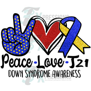 Peace Love Down Syndrome Awareness