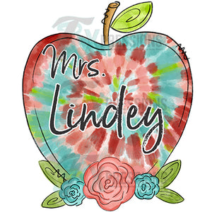 Personalized tie-dye teacher apple