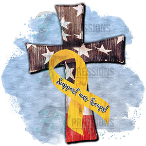 Cross yellow ribbon support our troops